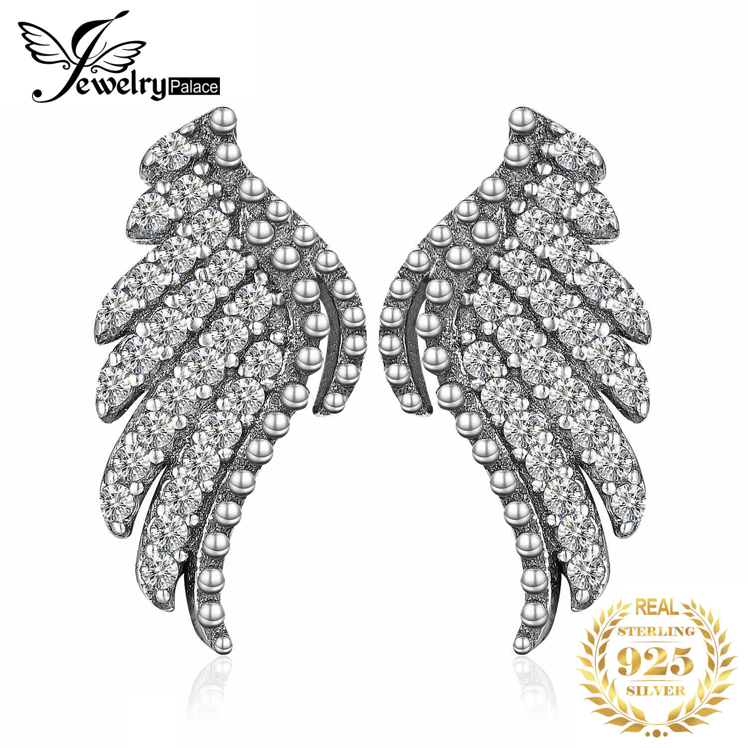 JewelryPalace Angel Wing CZ Stud Earrings 925 Sterling Silver Earrings For Women Girls Korean Earrings Fashion Jewelry 2019