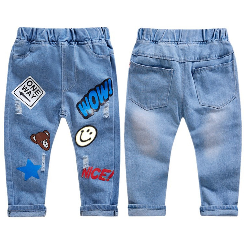 2021 Spring Boys Pants Print Pattern Trousers Girls Cartoon Ripped Pant Children Clothing Kids Clothes Baby Girl Birthday Jeans 2