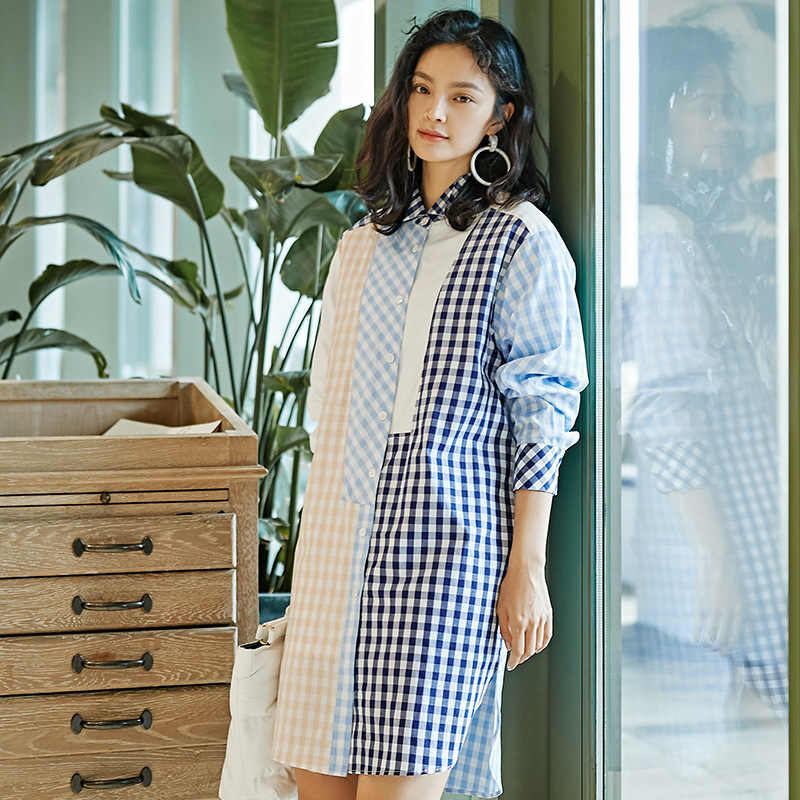 [DEAT] 2019 春夏新作ラペル長袖カラーのチェック柄にスプライシング緩い人格シャツ女性ブラウスファッション潮 13D389