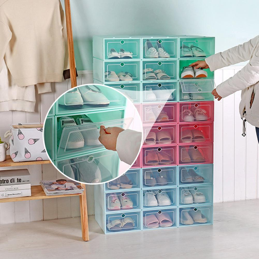 new Dustproof Transparent Drawer Shoes Case Grid Divider Foldable Box Plastic Storage Shoe Organizer Household