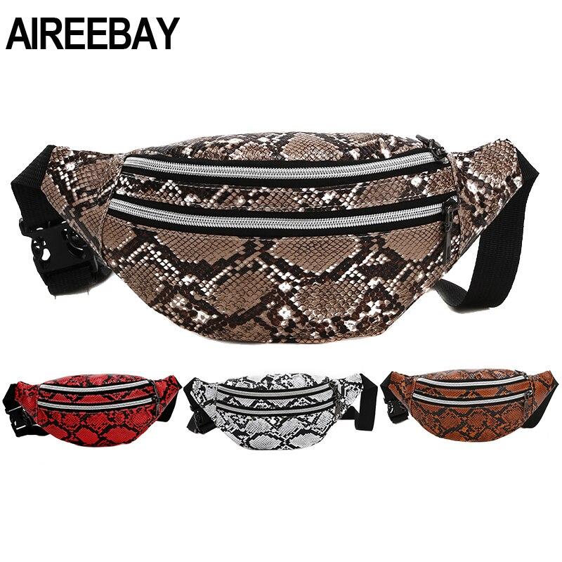 AIREEBAY 3-Pocket Serpentine Women Waist Bag Lady Fashion Fanny Pack Designer Belt Bag Mini Women's Bag Luxury Waist Pack