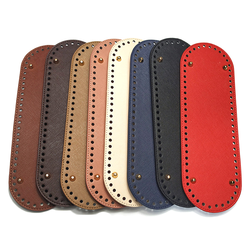 1PC Oval Long Bottom For Knitted Bag PU Leather Bag Accessories Handmade Bottom With 64 Holes DIY Crochet Bag Bottom