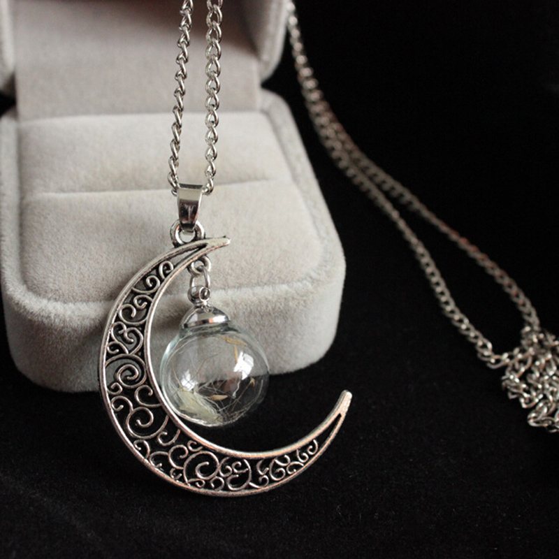 real Dandelion Necklace real flower Orb Sphere necklace terrarium bronze tone