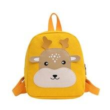 2021 Cartoon Deer Child girl backpack Cute Canvas backpack kids children animal school backpack boy small bag for kindergarten
