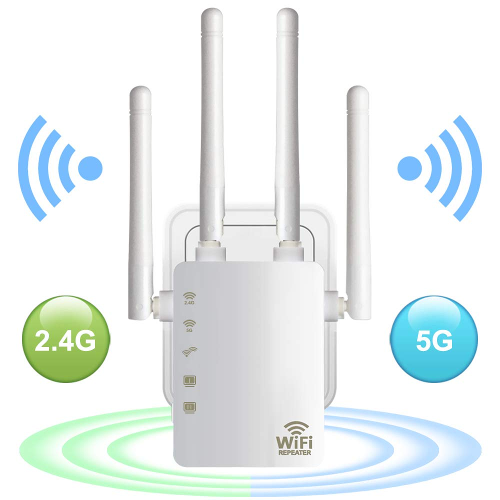 <font><b>WiFi</b></font> Range Extender 300/ 1200Mbps Dual Band 2.4/5GHz Wi-Fi Internet Signal Booster Wireless Repeater for Router Easy Setup WPS image