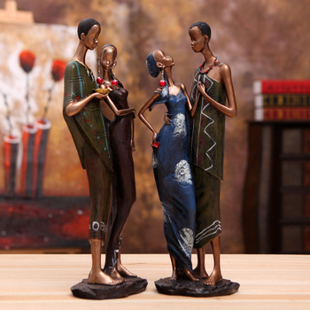 A Pair Of African Male And Female Characters Hug And Kiss Statue Home Crafts Living Room Decor Resin Sculpture Accessories Gifts