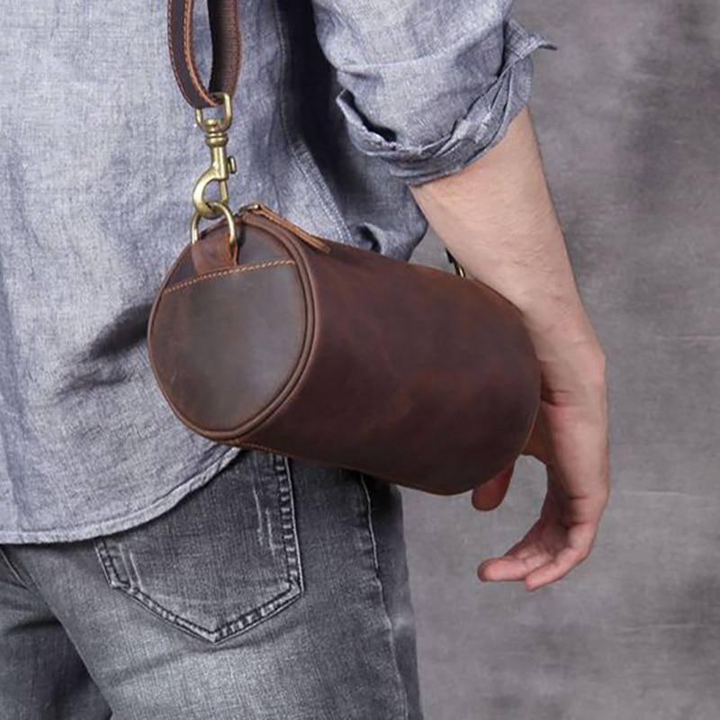 AETOO Vintage casual one-shoulder slanted bag, crazy horse leather bucket bag, men's handmade head layer cowhide shoulder bag