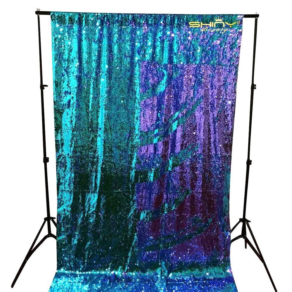 SequinCurtains-1Panel2FTx10FT Turquoise Party Decorations Sequin Fabric Mermaid Sequin Backdrop For Photo Booth-M191010