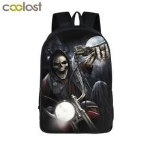 Cool Death Skull Backpack for Teenagers Children School Bags Motorcycle Men Rucksack Travel Bag Laptop Backpacks Boy Book Bag