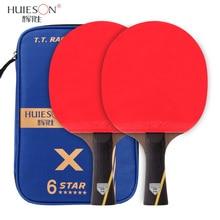 HUIESON, 2 шт., углеродная ракетка для настольного тенниса, набор, профессиональная тренировочная ракетка для пинг-понга, летучая мышь, длинная короткая ручка, 5 ЗВЕЗД/6 звезд с сумкой