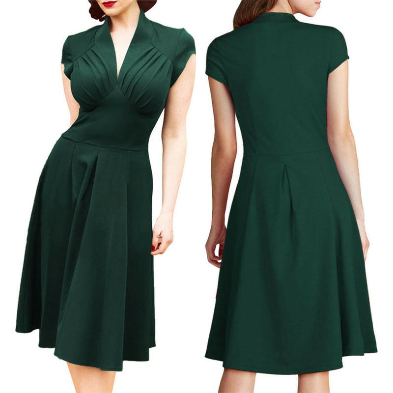 Brand New <font><b>Vintage</b></font> Style Retro <font><b>1940s</b></font> Shirtwaist Flared Party Elegant Women <font><b>Dress</b></font> Summer <font><b>Dress</b></font> Swing Skaters Vestidos Size 8-18 image