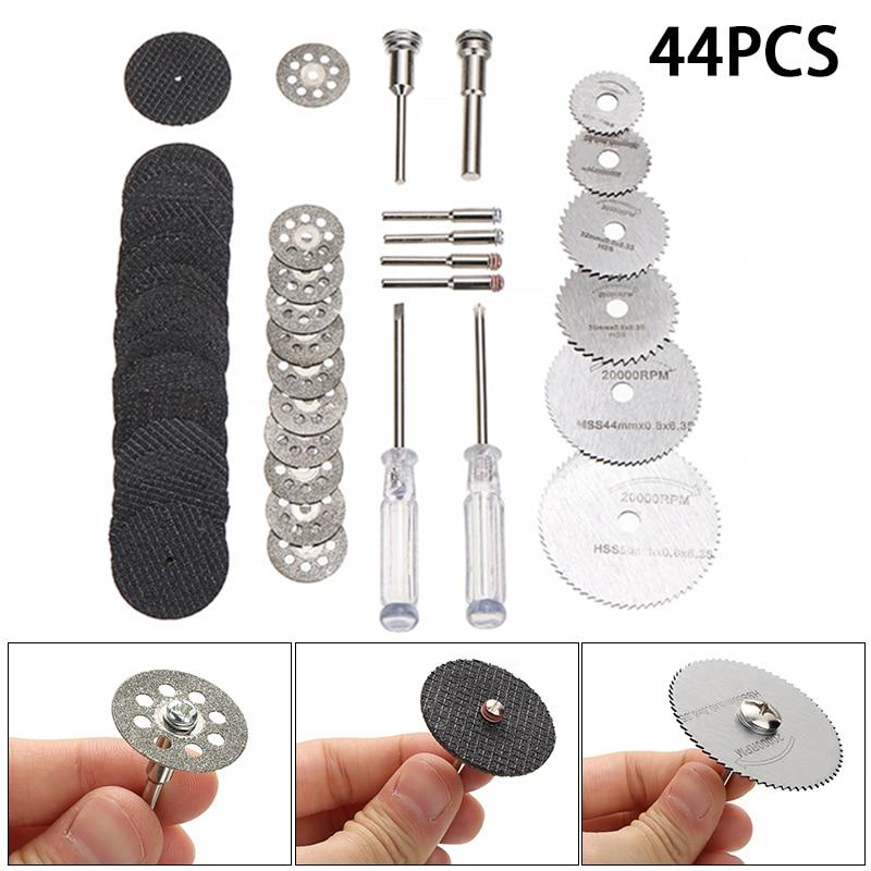 44Pcs Wood Cutting Wheel Discs Set HSS Circular Saw Blades Diamond Cutting Wheels With 2 Screwdriver For Carpentry Power Tools