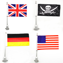 цена на Motorcycle Rear Side Mount Luggage Rack Vertical Pirate Flag Pole For Harley Sportster XL883 XL1200 Touring Road King Glide FLHT