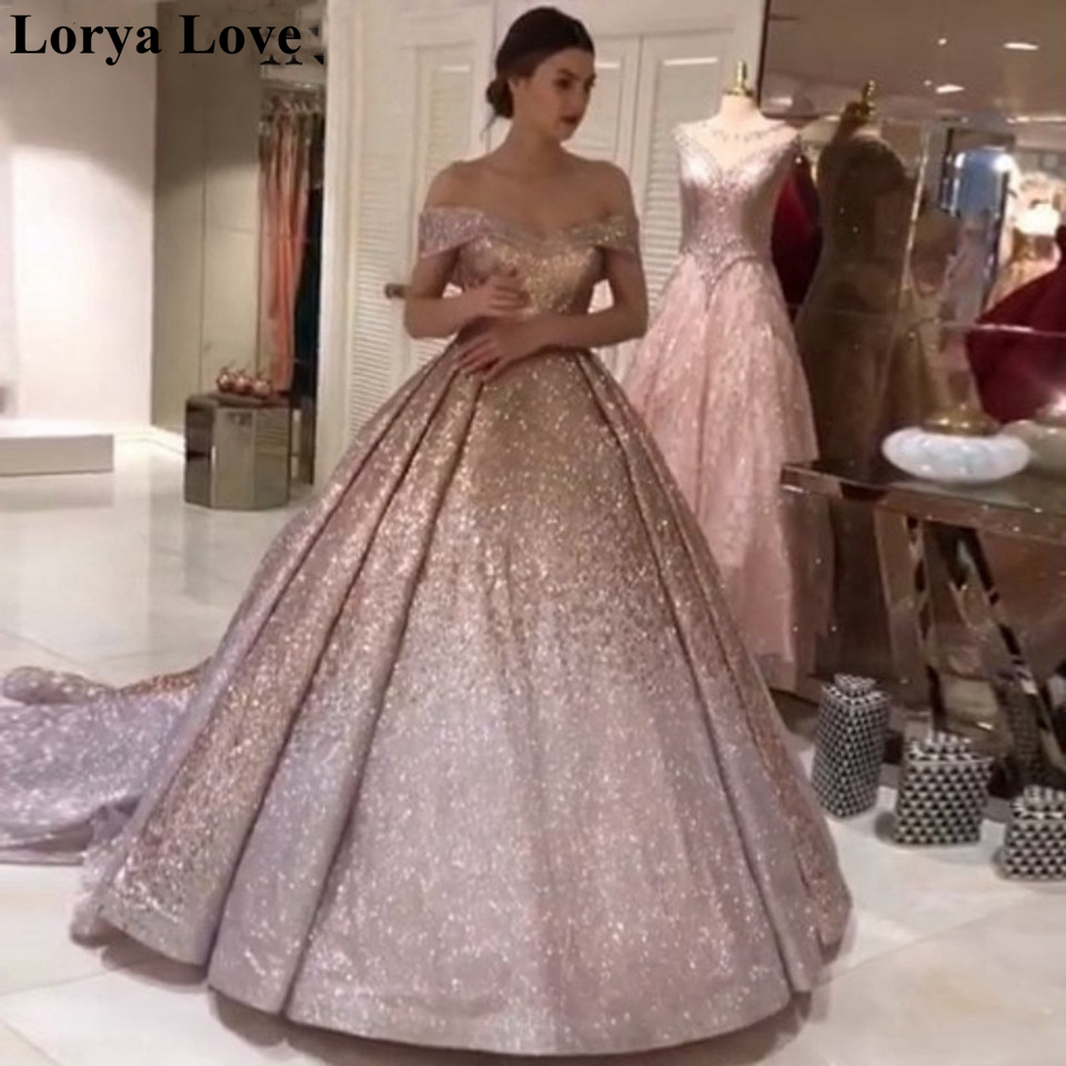 Sequins Pink Ball Gown Formal Evening Dresses 2020 Sparkle Robe De Soiree Sequins Off Shoulder Prom Gowns Long Shiny Maxi Dress
