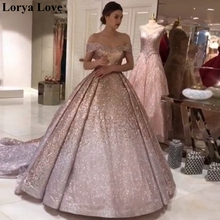 Ball-Gown Maxi-Dress Formal Pink Sequins Robe-De-Soiree Long Off-Shoulder Sparkle Shiny