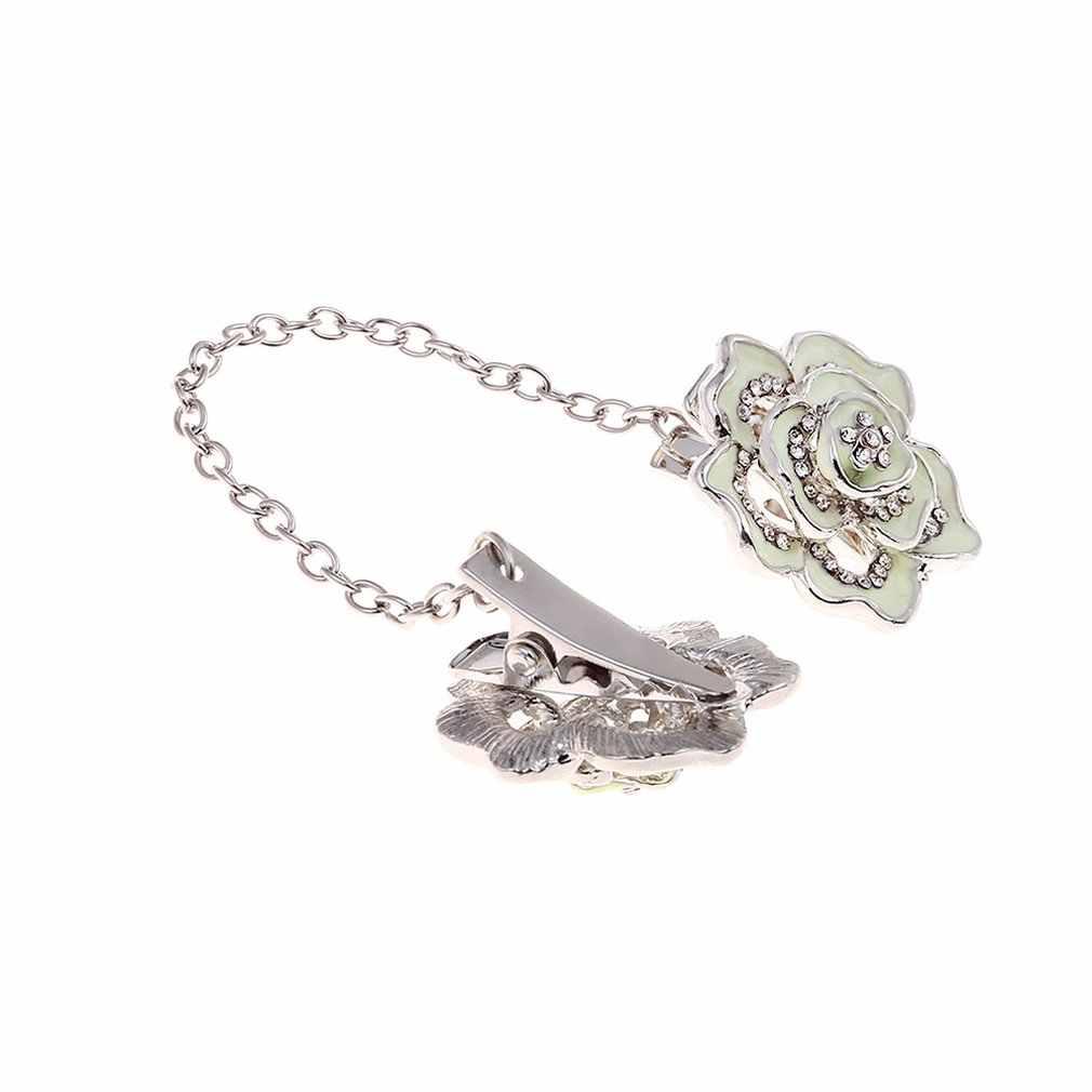 Изысканный процесс прочный и прочный женский цветок цепи свитер кардиган адаптер для часов воротник клип