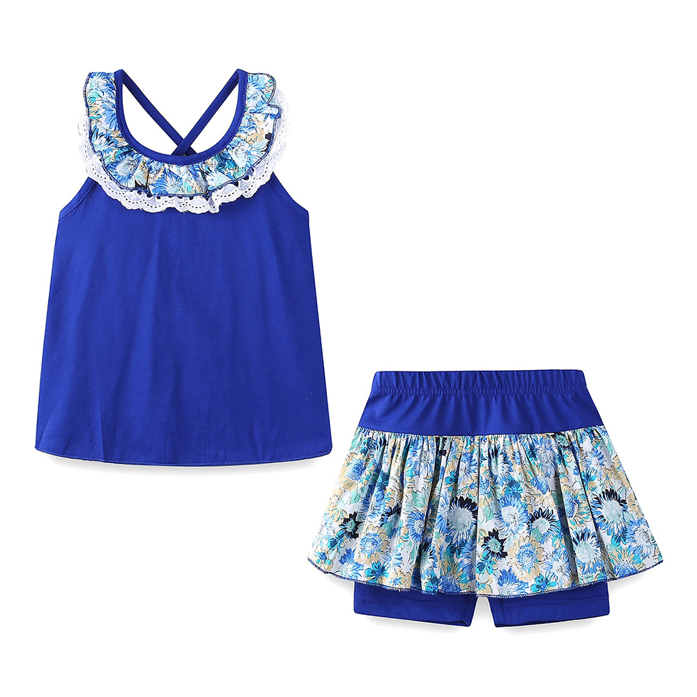 Mudkingdom Floral Summer Girls Outfits Backless Lace Collar Tops and Short Culottes Holiday Clothes for Kids 5