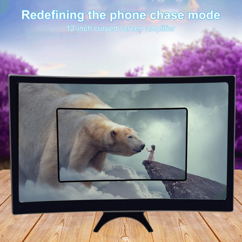 3D Phone Screen HD Magnifier Video Amplifier Portable Mobile Phone Curved Thread Lens Smartphone Within 12 Inch Screen
