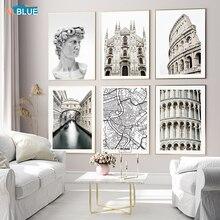 Итальянский город Милан Готическая архитектура Римский колозеум настенный постер на холсте принты скандинавские картины декор картина дл...