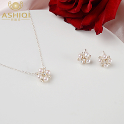 ASHIQI – ensemble de bijoux en perles d'eau douce naturelles faites à la main, collier et boucles d'oreilles en argent 925 pour femmes, cadeau de mariage