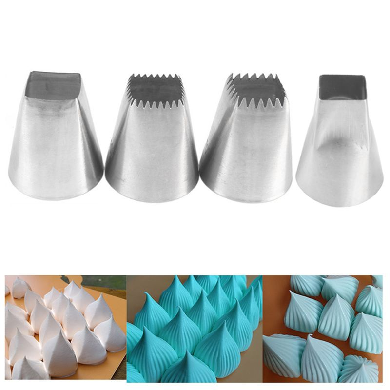 4pcs/set Stainless Steel Cake Icing Piping Tips Nozzles Dessert Mold Square Shaping Baking Pastry Decorating Tools