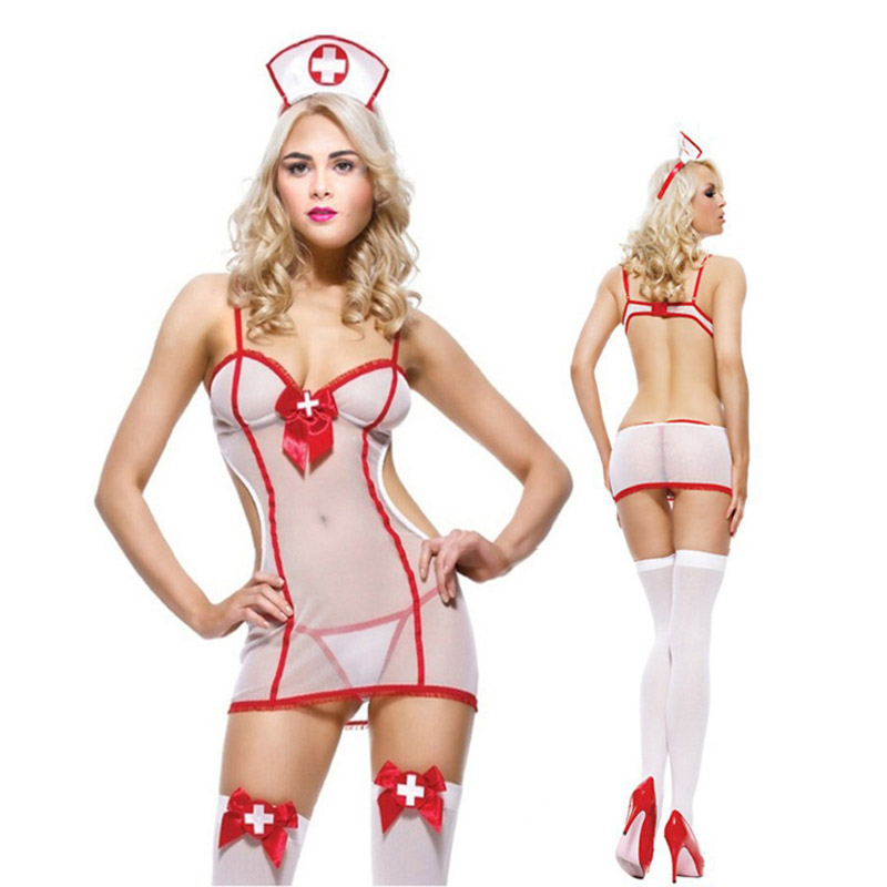 Fashion Hot Sale Women's Sleepwear Sexy Nurse Uniform Jumpsuit