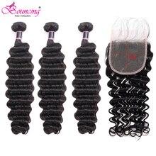 Hair-Extension Human-Hair Deep-Wave-Bundles Weave Closure Lace Remy Brazilian Bouncing