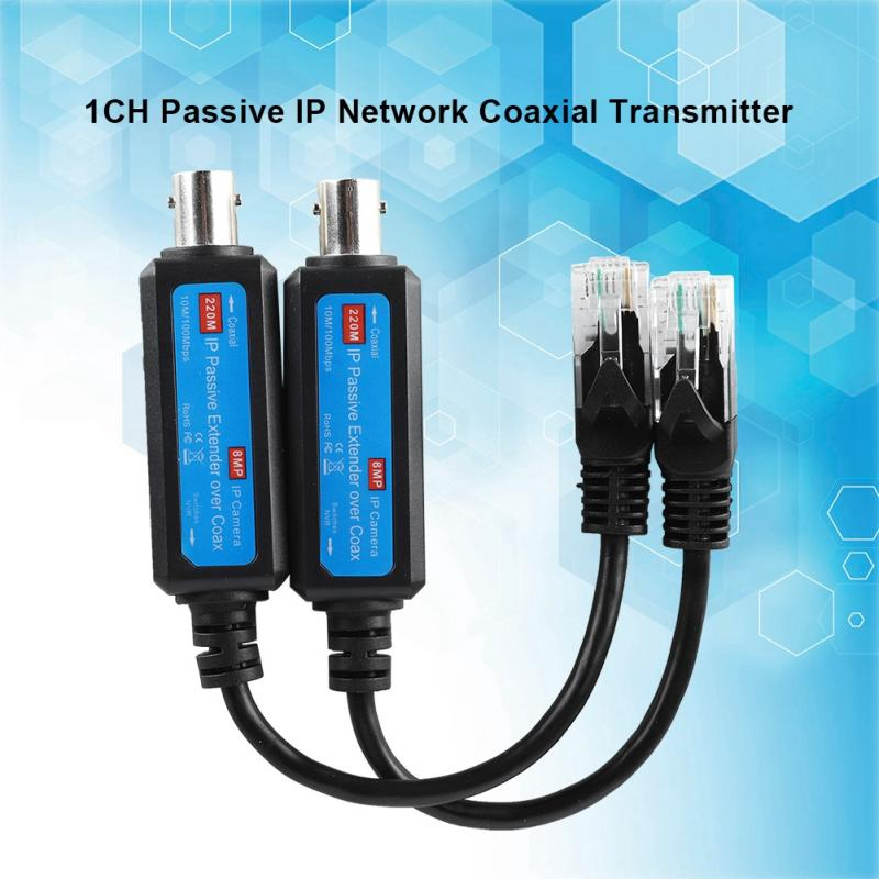 1Pair 10/100Mbps 1CH Passive IP Network Coaxial Transmitter Receiver Extender For IP NVR Camera