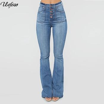 Uefezo damskie spodnie jeansowe zapinane na guziki w połowie talii spodnie jeansowe damskie Retro spodnie damskie spodnie Plus Size spodnie z dzianiny tanie i dobre opinie COTTON Pełnej długości Osób w wieku 18-35 lat Na co dzień Zmiękczania Zipper fly Kieszenie Spodnie pochodni REGULAR