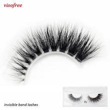 Visofree visofree vison cílios claro banda cílios de olho crisscross transparente cílios postiços artesanais dramáticos cílios chicote superior