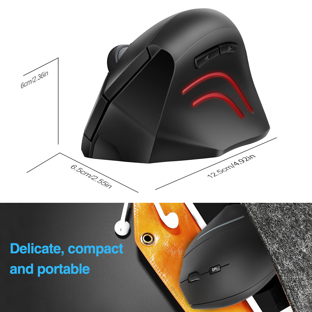 Image 5 - TeckNet Vertical Wireless Mouse 2.4GHz Nano Ergonomic Optical Mouse 3 Adjustable Levels 2000/1200/800DPI Mouse For PC Computer-in Mice from Computer & Office