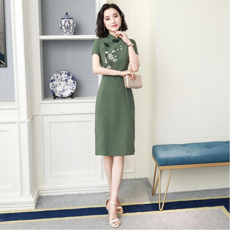 Vintage Print Flower Cotton Linen Women Dress Oversize 3XL Casual Short Cheongsam Chinese Style Green Slim Qipao Vestidos