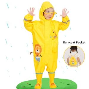 Image 4 - 1 10 שנים ישן ילדים כחול דינוזאורים מעיל גשם חיצוני סרבלי Waterproof בגדי גשם תינוק ילד ילדה מעיל גשם וגשם מכנסיים חליפה