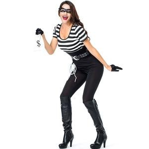 Umorden Vrouwen Gevangene Kostuums Sexy Dief Bank Robber Bandit Inbreker Meisje Kostuum Halloween Carnaval Mardi gras Party Outfit(China)