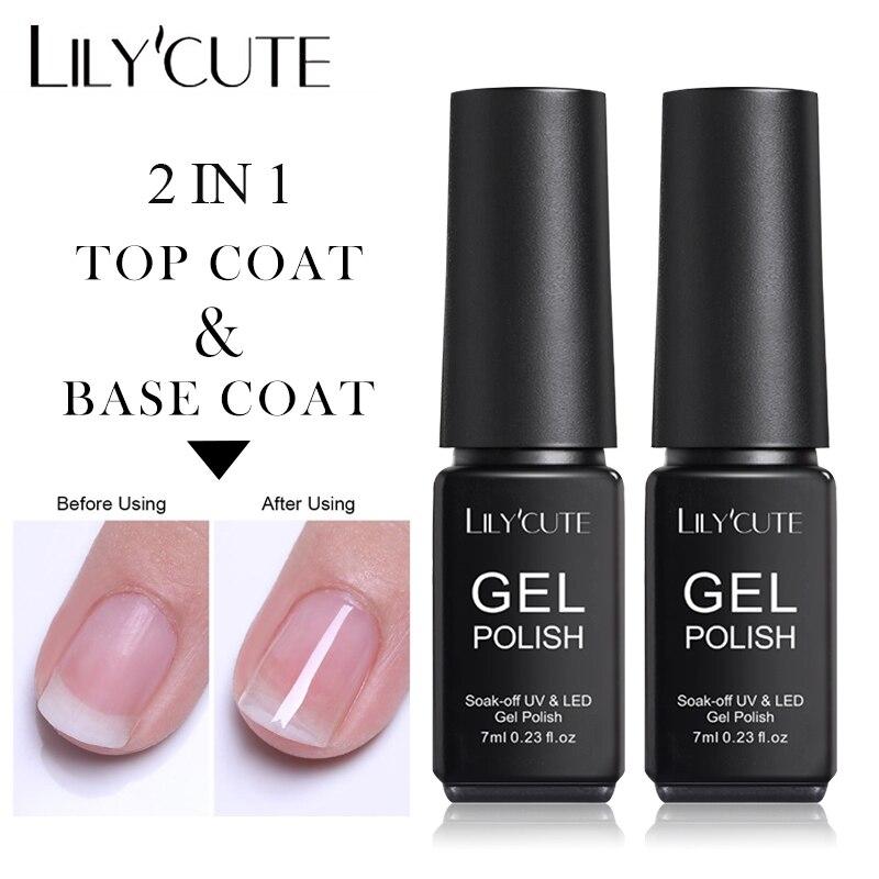 LILYCUTE 2 IN 1 Base Top Coat Gel Polish UV Transparent Nail Gel Long Lasting Soak Off No Wipe Base Coat Color Nail Gel 7ML
