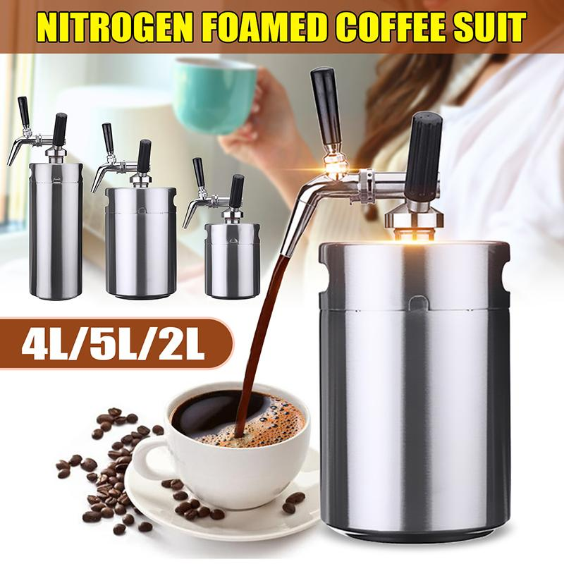 2L/4L/5L Nitro Cold Brew Coffee Maker Mini Stainless Steel Keg Home DIY Brew Coffee System Kit Stovetop Coffee Maker