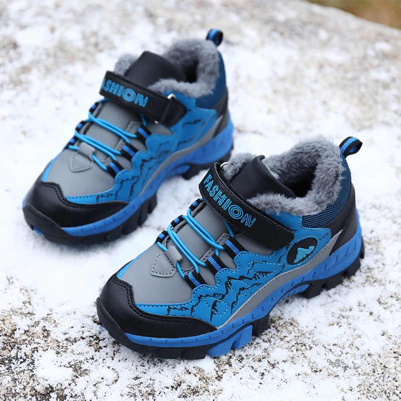Kışlık botlar erkek kız çocuklar için pamuk eklemek kar ayakkabıları gençler çocuk yürüyüş ayakkabıları yürüyüş tırmanma Sneakers CN boyutu 28-40