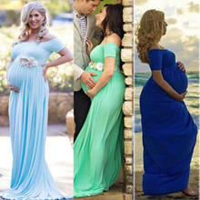 New Fashion Elegant Pregnant Women Long Maxi Gown Photography Photo Shoot Fancy Maternity Dress Plus Size(China)