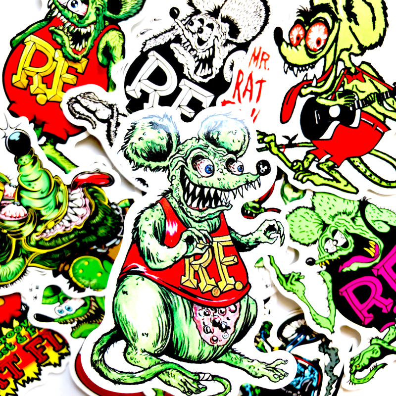 Details about  /10pcs Rat Fink Graffiti Ed Roth Vinyl Decal Surf Board Hot Rods Car Stickers