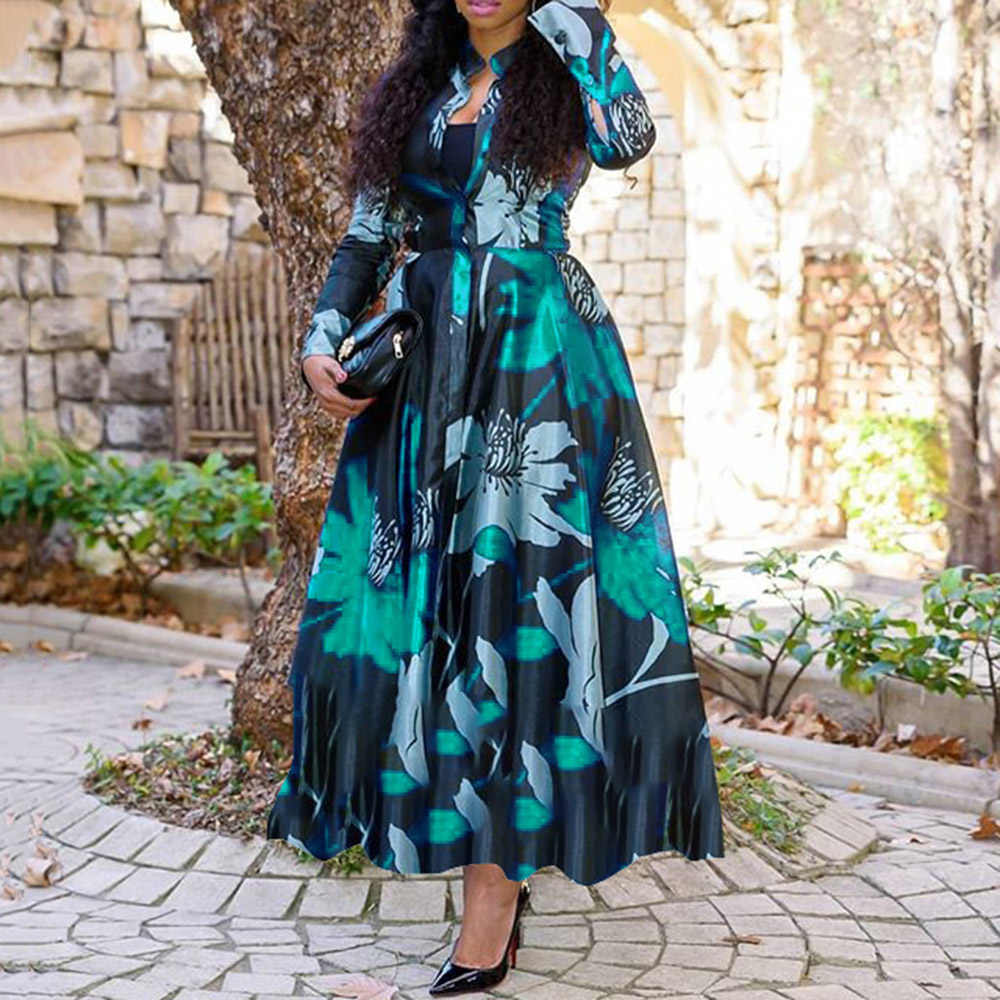 Vrouwen Vintage Bloemen Gedrukt Lange Mouw Lente Jurk Retro Plus Size Kantoor Maxi Vestidos Elegante Dames Party Lange Jurk