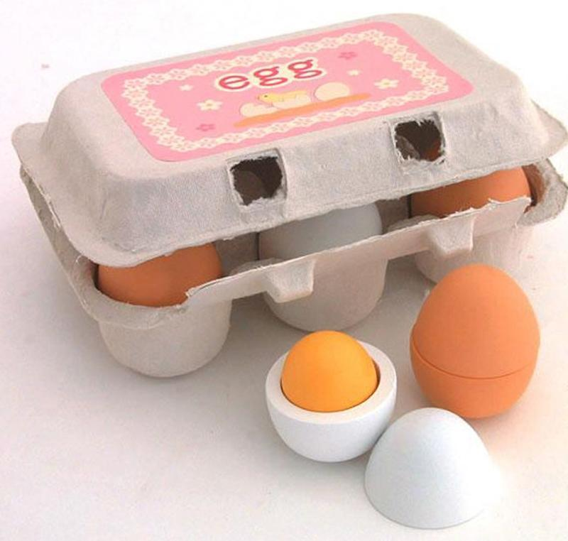 Newest Arrivals 6PCS Eggs Yolk Pretend Play Kitchen Food Cooking Kids Children Baby Toys Funny Gift Wooden Simulated Eggs