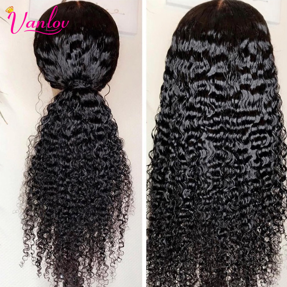 Vanlov Brazilian Lace Front Human Hair Wigs For Women Remy Deep Wave Lace Wig Pre Plucked Lace Front Wig Natural Hairline 150%