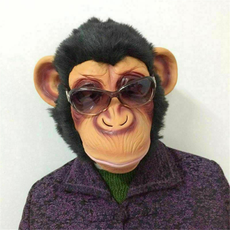 Hot Selling Halloween Monkey Mask Funny Animal Party Costume Head Fancy Props LBV