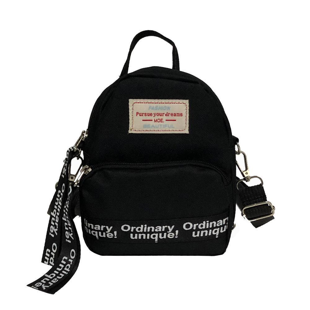 Mini Backpack Women Nylon Letter Print Shoulder Bag For Teenage Girls Kids Multifunction Small Backpack Female Ladies Travel Bag