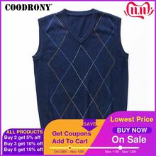 COODRONY Casual Argyle V Neck Sleeveless Vest Men Clothes 2020 Autumn Winter New Arrival Knitted Cashmere Wool Sweater Vest 8174