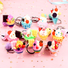2019 simulation Food ice Cream Pendant Key chain Resin Doughnut Chain is Suitable For women And children Gift Ring