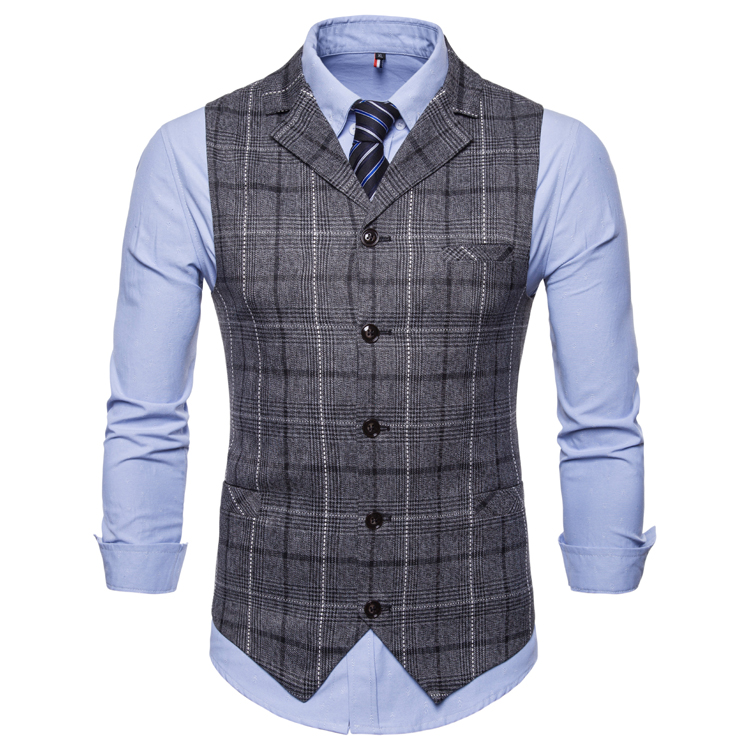 H7cf7c711b62c4e4f81ab3bc940224fe3Y - New Mens Vest Casual Business Men Suit Vests Male Lattice Waistcoat Fashion Mens Sleeveless Suit Vest Smart Casual Top Grey Blue