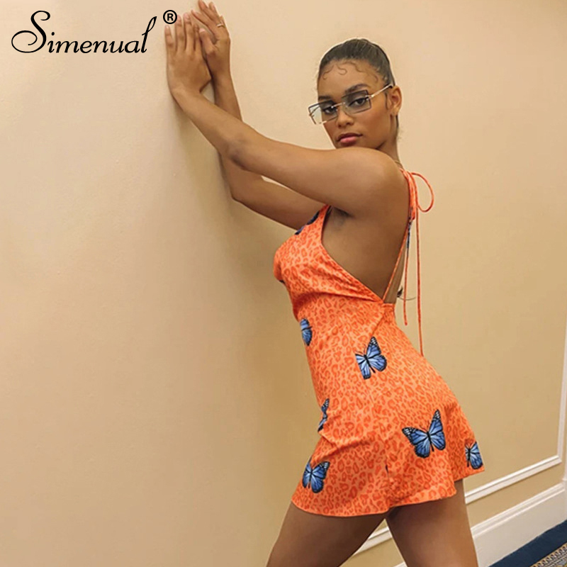 Simenual Butterfly Leopard Print Sexy Party Dress Women Backless Sleeveless Bodycon Clubwear 2020 Summer Fashion Mini Dresses