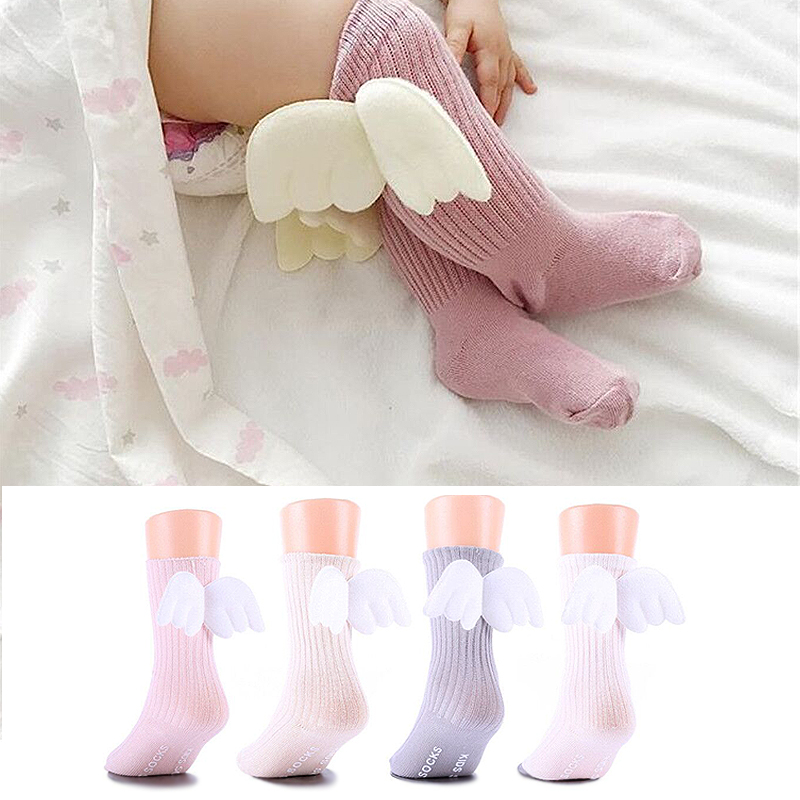 For Age 0-4Y Baby Kids Socks Toddlers Girls Knee High Angle Wing Socks With Rubble Soles Leg Warmer Baby Clothing