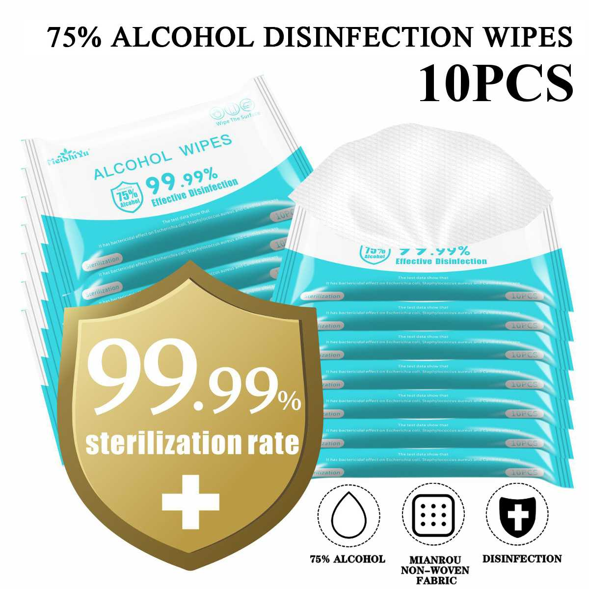 10Pcs/Pack 75% Alcohol Antiseptic Disinfection Pads Sterilization Household Skin Cleaning Hand Sanitizing Flip-Top Wet Wipes